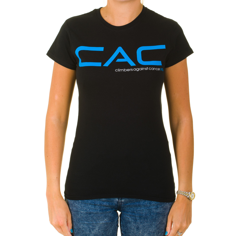 Women 39 s black blue cac t shirt climbers against cancer for Shop mens t shirts