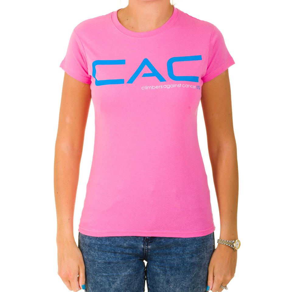 Women's Azalea/Blue CAC T-shirt - Climbers Against Cancer
