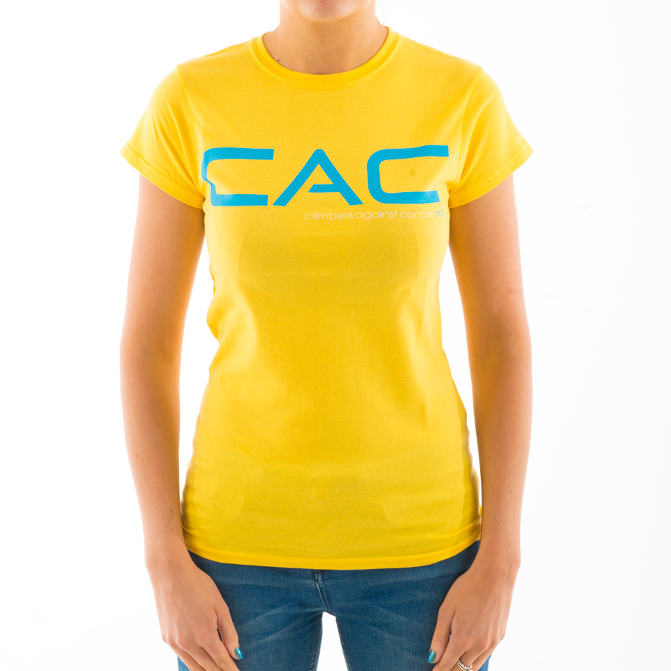 Women's Yellow with Blue CAC T-shirt - Climbers Against Cancer
