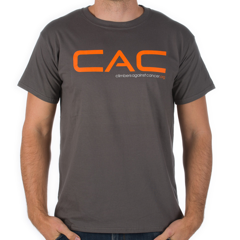 Men 39 s charcoal orange cac t shirt climbers against cancer for Shop mens t shirts